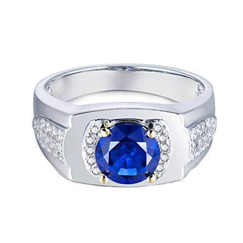 KnSam 18K White Gold Rings 4 Prong Round Cut Blue Sapphire 1ct VVS and 0.2ct Diamond Silver Ring Size P 1/2