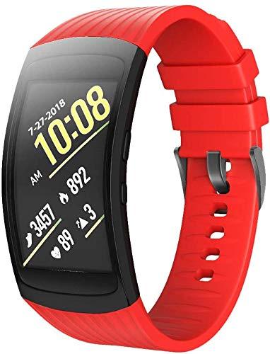 NeatCase Uhrenarmband kompatibel mit Gear Fit 2 SM-R360 / Gear Fit 2 Pro SM-R365, Premium Weiches Silikon Verstellbarer Ersatzgurt (Rot)