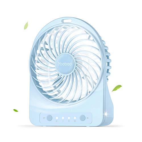 Yoobao Ventilateur USB Portable Rechargeable Ventilateur Mini de Table Faible Bruit avec 3 Vitesse de Vent pour la Maison, Le Bureau etc. -Blanc