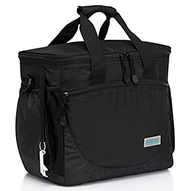 VASCHY Large Cooler Bag, 30-Can 23L Insulated Leakproof Picnic Lunch Bag Multi-pockets for Camping, Beach, Travel, Fishing with Detachable Shoulder Strap,Beer Opener Black