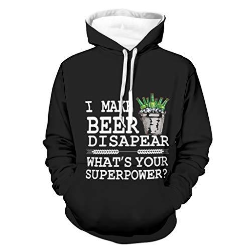 Damkelly Store - Sudadera con capucha para hombre, diseño de cerveza, color blanco