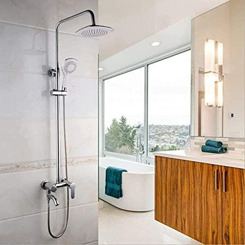 Accesorios de baño / Baño moderno americano de gama alta Cobre Plateado Revestimiento de boquilla cuadrada Tapa de ducha de mano Ducha Ducha Montado en la pared Juego de grifos de ducha Toalla de ba