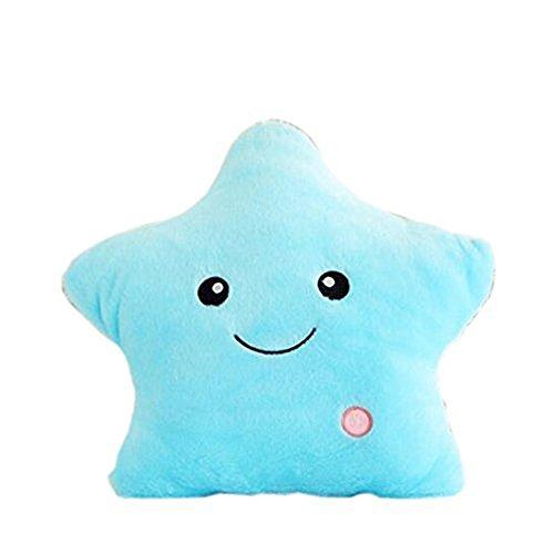Rainbow Fox Neu Bunt Glühend LED Leuchtend Star Kissen Weich Kissen Plüsch Spielzeug Kinder Geschenke Fee Geschichte Dekoration (blau)