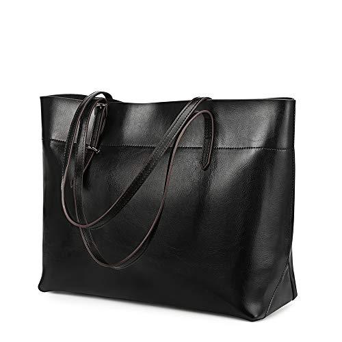Kattee Vintage Genuine Leather Tote Shoulder Bag With Adjustable Handles (Black)