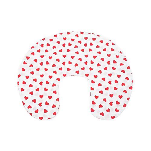 Niimo Federa Cuscino allattamento 100% cotone con cerniera a Scomparsa (Bianco-Cuore Rosso)