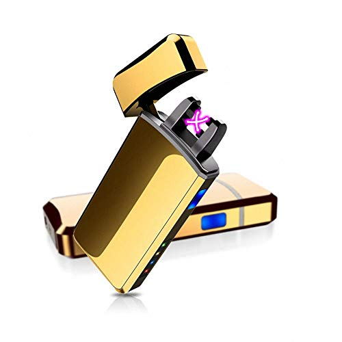 ASANMU USB Feuerzeug, Touchscreen Lichtbogen Elekro Feuerzeug Aufladbar Winddicht Flammenloser USB Elektronik Feuerzeug Kabel LED Display für Zigaretten Geschenkbox (Golden)