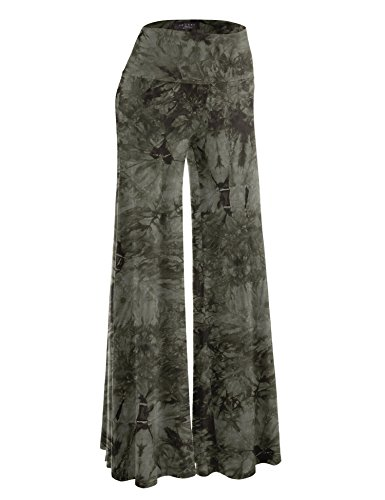 Made By Johnny MBJ WB1060 Womens Chic Tie Dye Palazzo Pants XL Olive