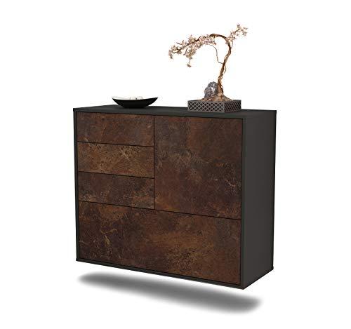 Dekati Sideboard Fontana hängend (92x77x35cm) Korpus anthrazit matt | Front rostigen Industrie-Design | Push-to-Open
