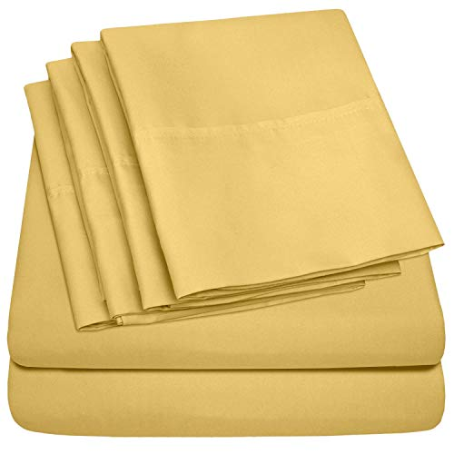 RRlinen 6 Piece 800 Thread Count 16'' Deep Pocket Twin Sheet Set with 2 Extra Pillow Cases Long Staple Cotton Sheets Gold Soft and Comfortable Bedding Set (Twin, Gold)