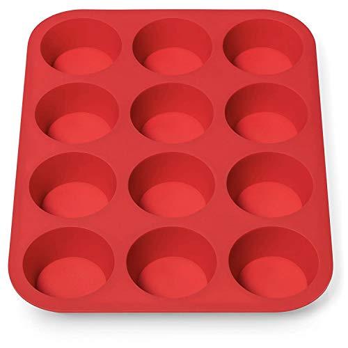 AVANA Molde de silicona para 12 magdalenas, sin BPA, antiadherente, para magdalenas, cupcakes, color rojo