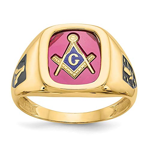 10k Yellow Gold Red Acrylic Mens Masonic Freemason Mason Band Ring Size 10.00 Man Fine Jewelry For Dad Mens Gifts For Him