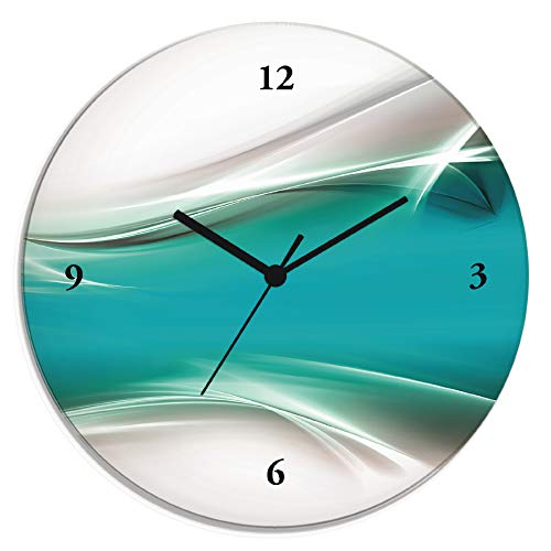 Artland Wanduhr ohne Tickgeräusche aus Glas Quarzuhr Ø 30 cm Rund Lautlos Design Abstrakt Kunst Modern Ausgefallen Kreativ T9FA