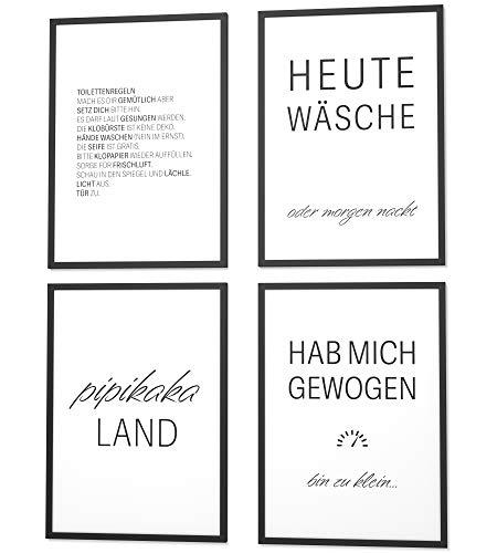 Papierschmiede® Spruch-Poster 4er-Set in DIN A4 | Motiv: Badezimmer & WC | Typografie für Zuhause als Kunstdruck ohne Rahmen