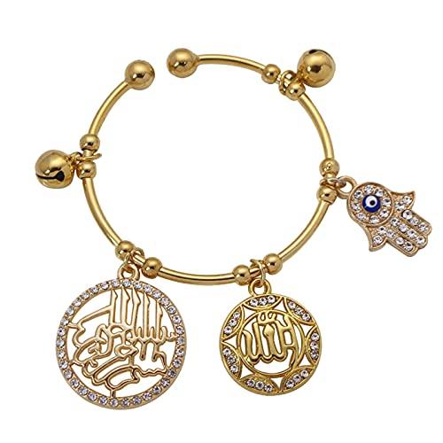 Musulmán Hamsa Mano de Fátima El nombre de Alá El misericordioso Alá Pulseras de cobre para bebés y niños