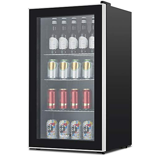 KUPPET 120-Can Beverage Cooler and Refrigerator, Small Mini Fridge for Home, Office or Bar with Glass Door, Perfect for Soda Beer or Wine, Black&Stainless Steel, 3.1 Cu.Ft