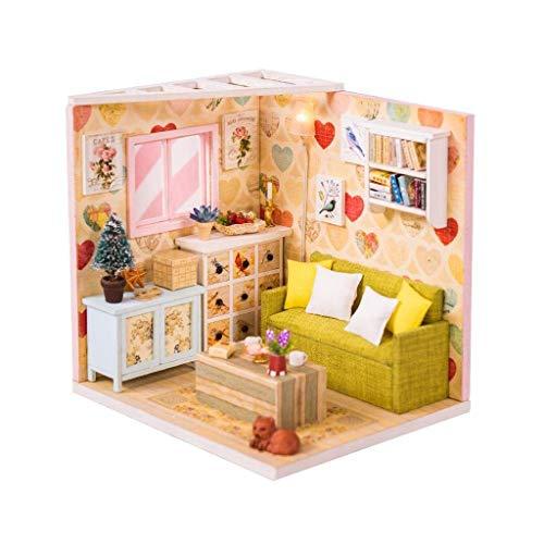 XZJJZ Miniatur-Puppenhaus-DIY Holzhaus Kit-Haus Puzzle Modell-Kreative Raumschmuck mit Möbeln und LED-Best Birthday (Size : with dust Cover)