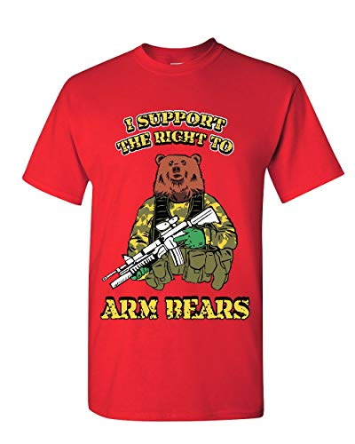 I Support The Right to Arm Bears 2nd Amendment T-Shirt Militia Mens Tee Shirt Red 2XL