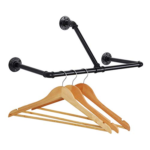 LIANTRAL Wall Mounted Clothing Rack 22-Inch Industrial T-Bar Pipe Coat Hanger Clothes Rack Heavy Duty Garment Rack Black
