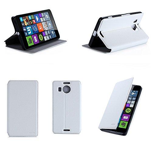 Microsoft Lumia 950 XL Dual Sim Tasche Leder Style Weiß Hülle Cover mit Stand - Zubehör Etui smartphone 2015 Lumia 950 XL Flip Hülle Schutzhülle (Handy tasche folio PU Leder, Weiss White) - Brand XEPTIO accessoires