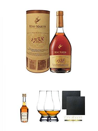 Remy Martin 1738 Accord Royal Frankreich 0,7 Liter + Hennessy VS Cognac Frankreich 5 cl + The Glencairn Glass Whisky Glas Stölzle 2 Stück + Schiefer Glasuntersetzer eckig ca. 9,5 cm Ø 2 Stück