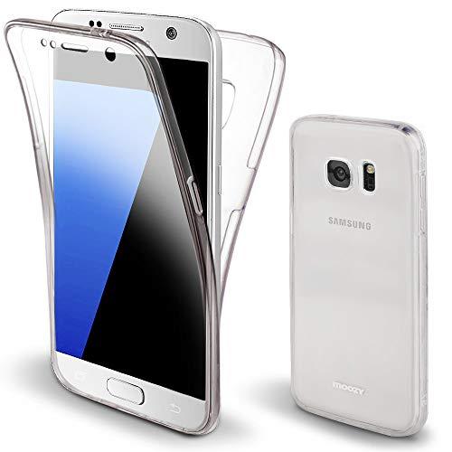 Moozy Funda 360 Grados para Samsung S7 Transparente Silicona - Full Body Case Carcasa Protectora Cuerpo Completo