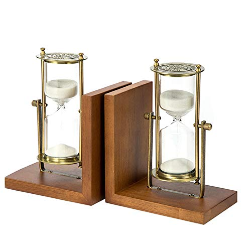 JIASENRATE Retro Hourglass Book Standing Decoration Desk Study Hourglass Bookshelf Atmospheric Fashion Wooden Bookend