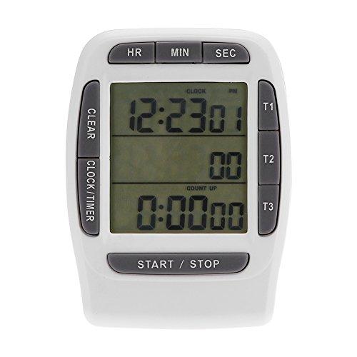 Reloj con temporizador de cocina - Digital portátil, multicanal, 3 canales, LCD, temporizador, temporizador preciso, reloj de cuenta regresiva con parte posterior magnética