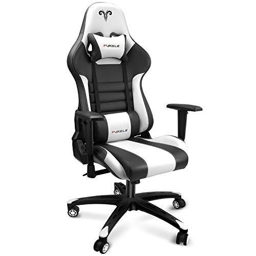 Furgle Office Gaming Chair Silla de Carreras con Respaldo Alto y reposabrazos Ajustables 4D, Piel sintética, Silla de Videojuegos giratoria con Modo balancín (Negro & Blanco)
