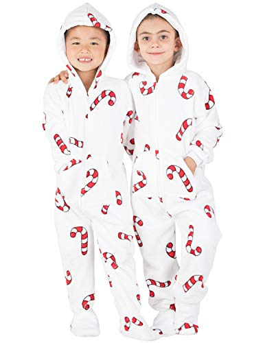 Footed Pajamas - Candy Cane Lane Toddler Hoodie Chenille Onesie - Toddler - Small (Fits 2'8-2'11')