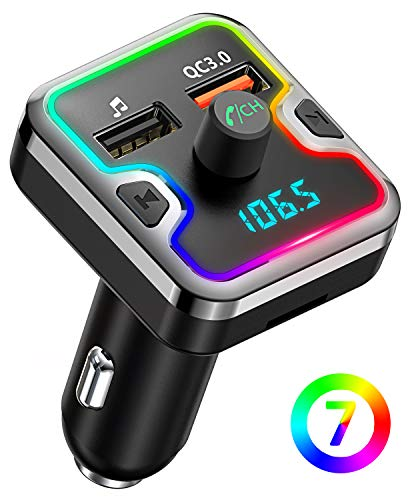 Bluetooth FM Transmitter for Car, Comsoon 7 Colors LED Backlit Bluetooth Car Adapter, Bluetooth Receiver Car Kit with Hands-Free Calling, QC3.0 Car Charger, Support USB Disk, microSD Card (Black)
