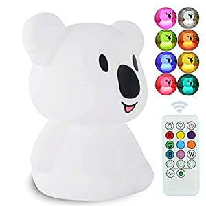 crib bedding and baby bedding atomfit led nursery night lights for kids: cute animal silicone baby night light with touch sensor and remote - portable and rechargeable infant or toddler cool color changing bright (koala)