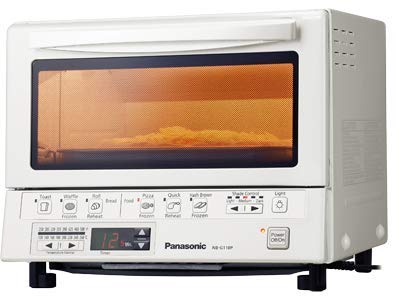 Panasonic FlashXpress Compact Toaster Oven with Double Infrared Heating, Crumb Tray and 1300 Watts of Cooking Power – 4 Slice Countertop Toaster Oven - NB-G110P-W (White)