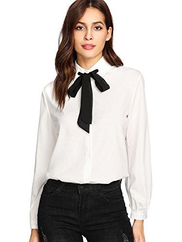 SheIn Women's Bow Tie Neck Ruffle Long Sleeve Chiffon Shirt Blouse Top White# X-Large