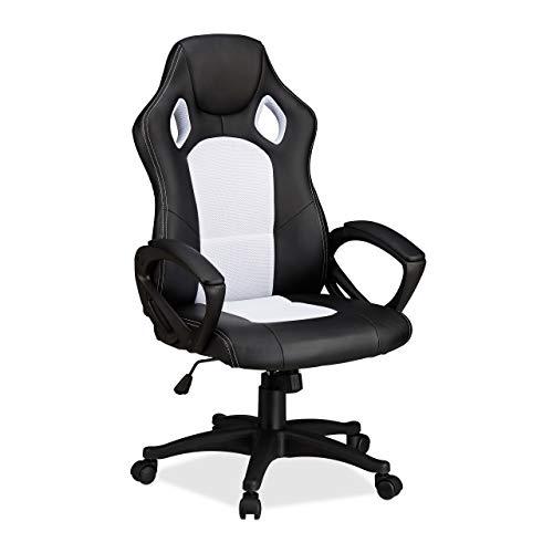 Relaxdays Gaming Stuhl XR9, Zocker Drehstuhl, bequemer Chefsessel m. Höhenverstellung, Racing Design, schwarz-weiß