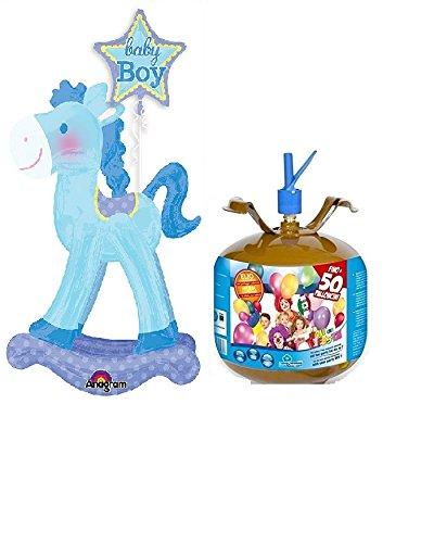 Zeus Party BOMBOLA di Elio da 6,9 Litri + Palloncino Gigante A Forma di Cavallo A Dondolo Compleanno Bambino