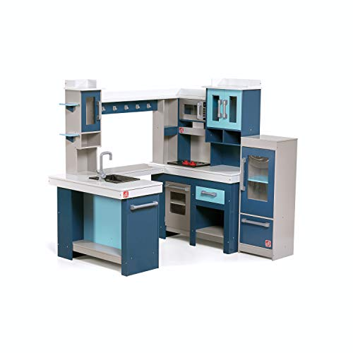 Step2 Grand Walk-In Wooden Kitchen | Large Wood Play Kitchen & Toy Accessories Set | Wood Play Kitchen for Kids, Blue