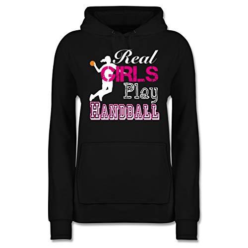Handball - Real Girls Play Handball weiß - S - Schwarz - Pulli grau - JH001F - Damen Hoodie und Kapuzenpullover für Frauen