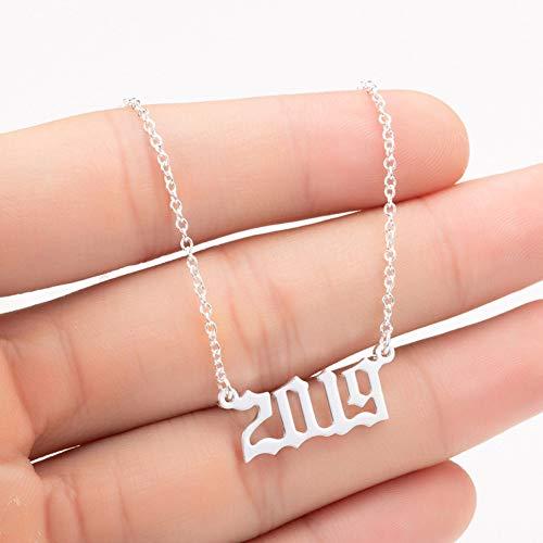jasminelady 1980-2019 Halskette mit Anhänger Geburtsjahr, Edelstahl, silber, 2003#