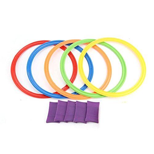 Zerodis Springen Ring, 5 Stücke Kinder Outdoor Kreis Springen Ring Spiele Freunde Vorschule Lehrmittel Sport Spielzeug Hopscotch Jump to The Grid Kinder Sensorische mit Schnallen