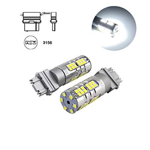 ZXREEK Lot de 2 ampoules LED super lumineuses 3156 T25 1500 lm 25 W 54 3030 SMD 3056 4114 Xenon Blanc 6000 K Feu arrière de recul Feu de stationnement AC 9–30 V