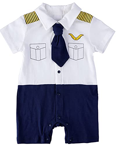 Baby Boy Halloween Pilot Outfits Short Sleeves Romper Bodysuit, White, 12-18 Months