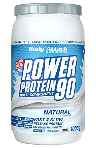Body Attack Power Protein 90, Neutral, 1 kg, 5K Eiweißpulver mit Whey-Protein, L-Carnitin und BCAA für Muskelaufbau und Fitness