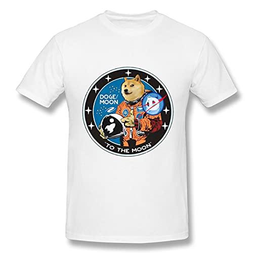 Pure Cotton Dogecoin Hombres manga corta resistente al desgaste camiseta (blanco)