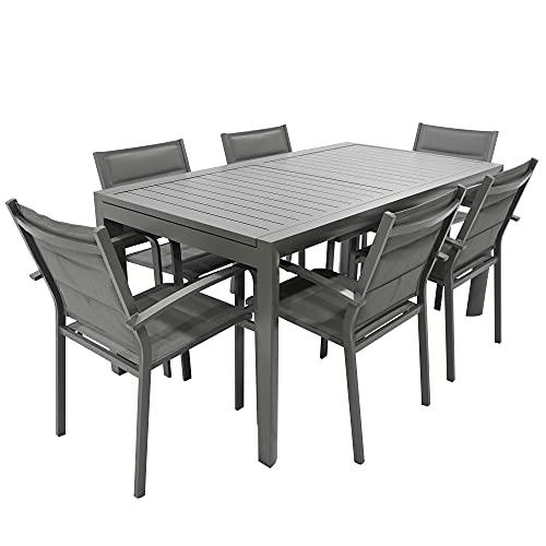 Set Tavolo con 6 SEDIE da Giardino da Esterno in Alluminio ALLUNGABILE da 160 CM A 240 CM con Top DOGHE POLTRONE in Alluminio con TEXTILENE Imbottito (Tortora)