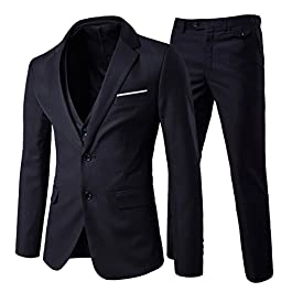 Cloudstyle Men's Modern Fit 3-Piece Suit Blazer Jacket Tux Vest & Trousers
