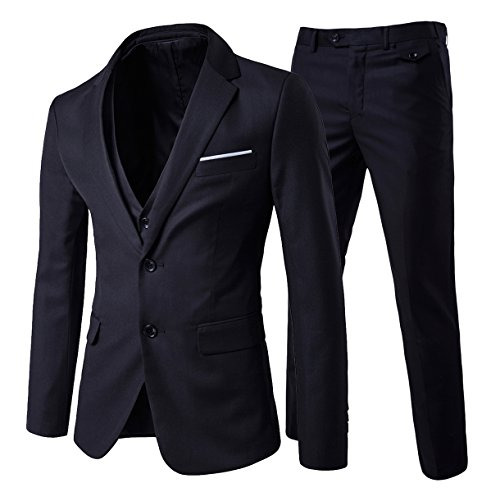 Cloudstyle Men's 3-Piece 2 Buttons Slim Fit Solid Color Jacket Smart Wedding Formal Suit,Black,X-Small