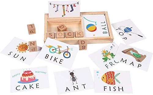 OOPP Holz Englisch Karton Puzzle, Lernen Alphabet Bausteine Spielzeug, Rechtschreibung Wortspiel, Kinder Lernspielzeug