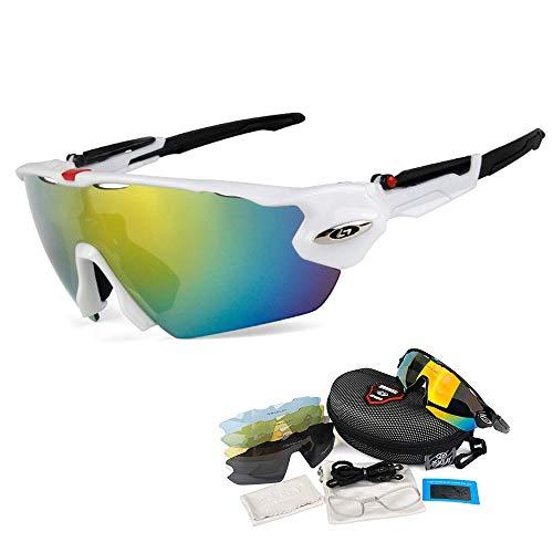 OPEL-R Occhiali da Ciclismo Sportivi All'aperto, Occhiali MTB Antivento da Bicicletta Polarizzati Occhiali da Sole Casual da Spiaggia per PC, Contenenti 5 varietà di Lenti,3SUBSECTION