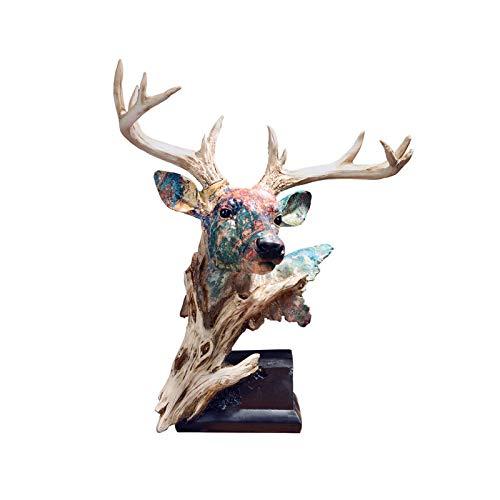 AKwwmy Esculturas Decoración Estilo Simple Estatua Decoración Resina Simulación Ciervos Cabeza Ornamento Sala TV Gabinete vino gabinete de inauguración de la casa Regalo Estante Deacute;cor Mengheyuan