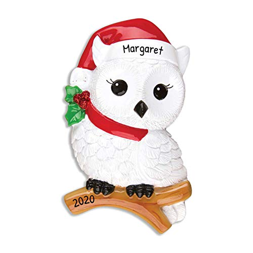 Personalized Snowy Owl Christmas Tree Ornament 2020 - Wise White Bird Red Santa Hat Branch Peppermint Berry Fun Holiday Grand-Son Daughter Love Kid Friend Baby First Gift Year - Free Customization